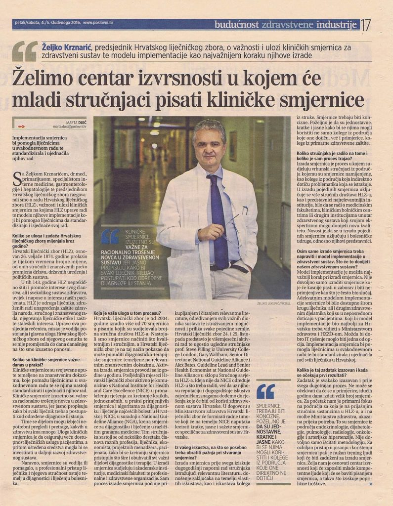 Intervju prof. dr. sc. Željka Krznarića za Poslovni dnevnik